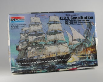 """Vintage Scale Model USS Constitution """"Old Ironsides"""" Kit, Monogram 3501, 1977 One Piece Hull, Mast and Yard Arms"""