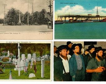 Vintage Postcards, 4 Cards, Pennsylvania Landmarks 1940s