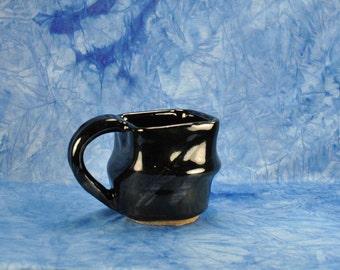 Vintage Black Lusterware Coffee Mug, Stoneware, Hand Painted, Teacup, Drinkware, Barware, Kitchen, Unique Shape, Beverage, Retro,Tea Mug
