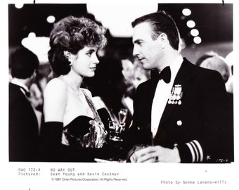 Vintage Photograph Kevin Costner and Sean Young in No Way Out 1987, 8x10 Black & White Promotional Photo, Movie Star Photograph