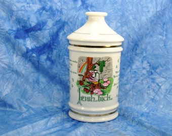 "Vintage ""Irish Luck"" Porcelain Decanter, 1972, Stitzel Weller Distillery, Old Fitzgerald Collector's Gallery, Leprechaun, Cheer, Treasure"