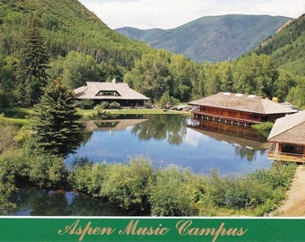 Vintage Postcard, Aspen Music Campus, Castle Creek, Aspen Colorado