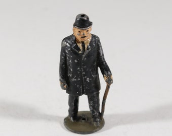 Vintage Barclay Manoil Lead Figure, Man Walking With Cane, 1950s