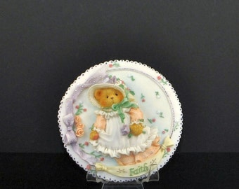 "Vintage Cherished Teddies Collectible ""Faith"" Plaque, 1994 Enesco"