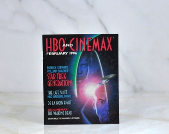 Vintage HBO and Cinemax Guide February 1996 - Patrick Stewart - William Shatner - Star Trek Generations - The Walking Dead - De La Hoya
