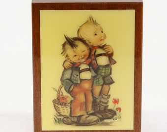 "Vintage Music Box ""Happy Wanderer"" Hummel 2 Brothers Picture"