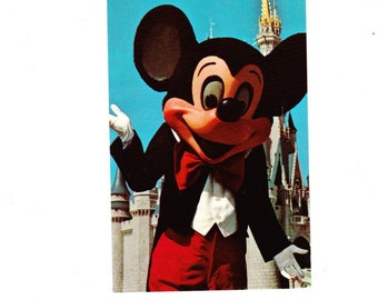 Vintage Postcard, Walt Disney World, Cinderella Castle, 1972, Mickey Mouse