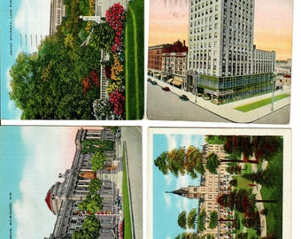 Vintage PostCards 4 Cards Milwaukee Landmarks 1940s, Lake Park, The Wisconsin Tower, Public Library, Sacred Heart Sanitarium