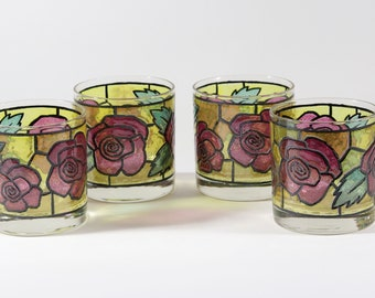 Vintage Rock Glasses Green With Red Roses and Green Leaves, 1970s Set of 4