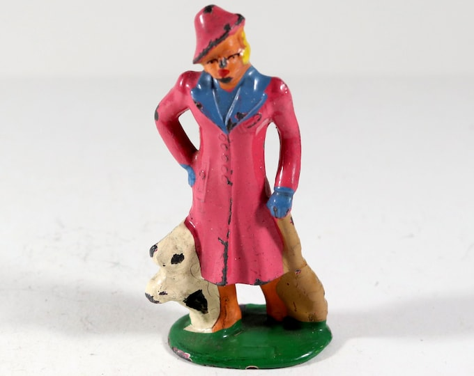 Featured listing image: Vintage Barclay Manoil Lead Type Figure, Woman And Her Dog, 1950s