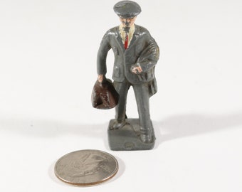 Vintage Barclay Manoil Lead Figure, Train Passenger Carrying a Bag, 1950s