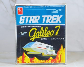 Vintage Star Trek USS Enterprise Galileo 7 Model Kit, 1974, The Original Series, AMT, S959, Complete Factory Sealed Plastic