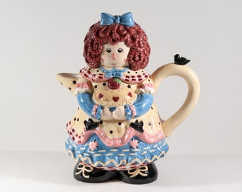 Vintage Raggedy Ann Tea Pot by Young's Heartfelt Kitchen Creations in the 1990s