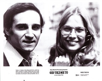Vintage Photograph Tony Lo Bianco and Deborah Raffin in God Told Me To 1976, 8x10 Black & White Promotional Photo, Movie Star Photograph