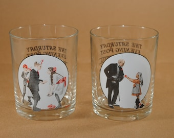 Vintage Norman Rockwell Saturday Evening Post Bar Glasses, Set of 2