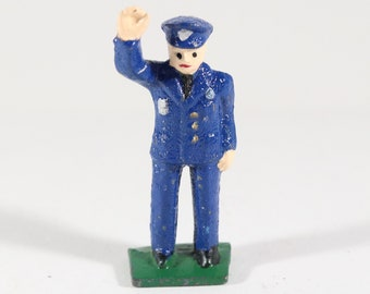 Vintage Lincoln Logs Lead Figure, Policeman Directing Traffic, Made in the USA 1940s