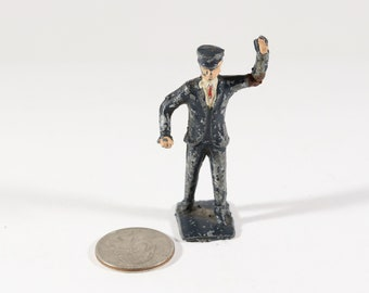 Vintage Barclay Manoil Lead Figure, Train Conductor or Policeman, 1950s