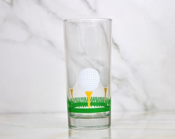 Vintage Golf Glass Golf Ball and Tee 16oz Tumbler