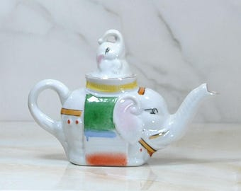 Vintage Ceramic Elephant Teapot With Baby Elephant Lid