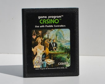 Vintage Atari 2600 Casino Game From 1978 Atari - Game System - Retro - Blackjack - Five-Card Stud - Poker - Gambling - Solitaire - Cards