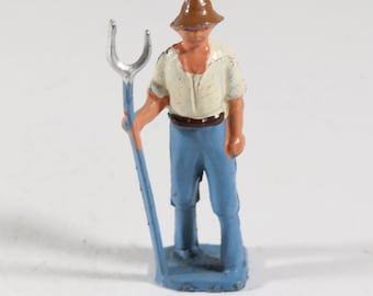 Vintage Barclay Manoil Lead Figure, Farmer With Pitchfork 1950s