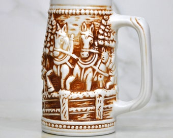 Vintage Beer Stein in Brown and White, Horses Pulling a Cart, Made In Brazil