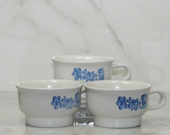 Vintage Pfaltzgraff YORKTOWNE Coffee Mugs,Tea Mugs, Blue on Gray, Stoneware Mug, Set of 3, Soup Bowl, Blue Floral Mug, Sauces, Desert Bowls
