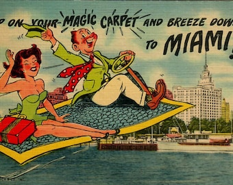Vintage Postcards featuring various places in Florida 1950s, Miami, Sunken Garden,  3 Assorted Postcards