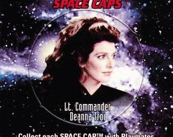 Vintage Star Trek The Next Generation Playmates Space Caps Trading Card 1994 Lt. Commander Deanna Troi No 30 - Paramount - USS Enterprise