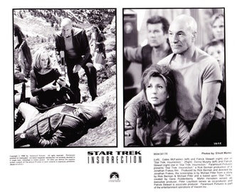 Vintage Star Trek Photograph Capt Picard and Dr Crusher, Black and White, Insurrection, 1998