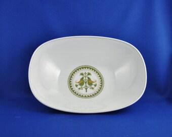 Vintage White and Green Porcelain Bowl, Noritake Hermitage Pattern