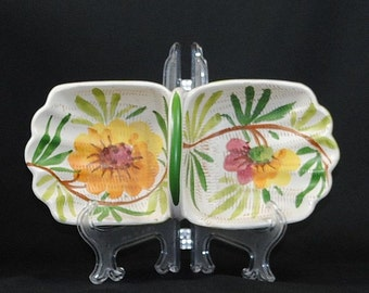 Vintage Italian Pottery Divided Dish With Handle, Candy Dish or Nut Dish, Hand Painted Flowers and Vines, Red Clay Handmade Terracotta Dish