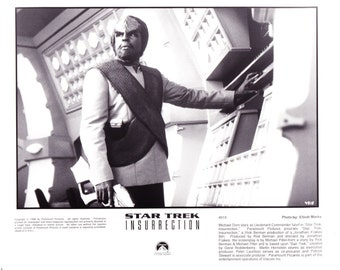 Vintage Star Trek Photograph Michael Dorn as Lt Commader Worf, Black and White, Insurrection, 1998