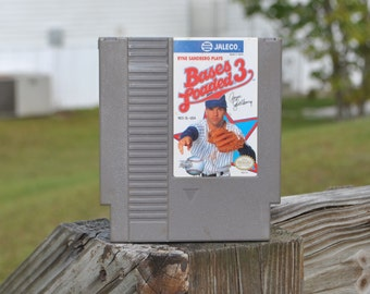 Vintage Nintendo Game Bases Loaded 3 8 Jaleco 1991, Retro Game, NES Game, Nintendo Game, Major League, MLB, Ryne Sandberg, Exhibition Game