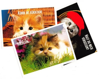 Vintage PostCard Bundle, 3 Cards, 1960s, 3 Adorable Cats, Austrian Postcards