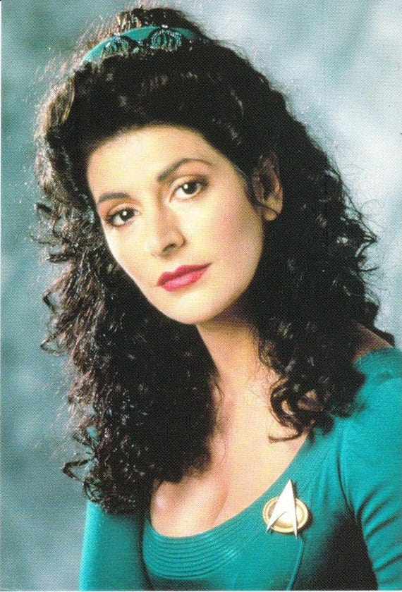 Deanna Troi Vintage Trek Paramount Pictures Star Trek Classico Vintage Postcard 1991 Vintage Post card The Next Generation Picard