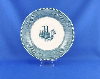 Vintage Currier And Ives Royal China Saucer, Lower Water In The Mississippi, 1970s, Blue and White, Transferware, Dinnerware, Steamboat