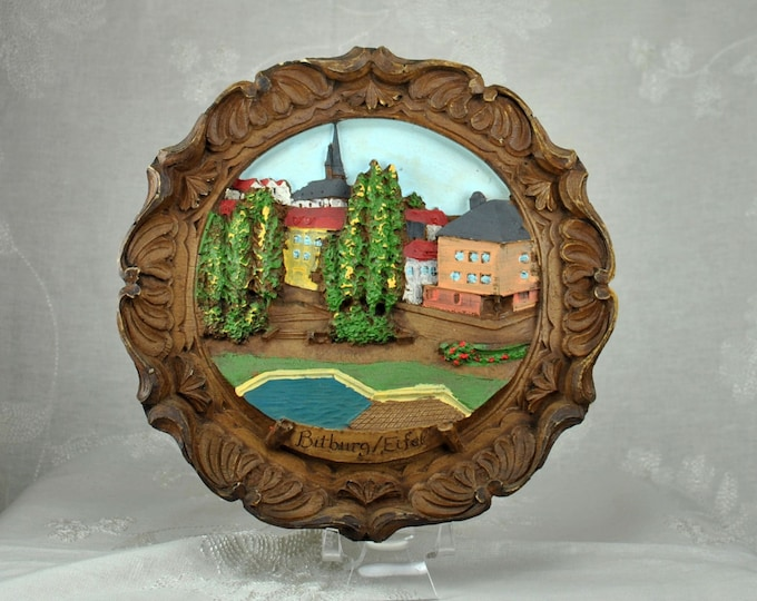 Vintage German Bitburg / Eifel, Carved Wooden, Folk Art, Hand Painted, Limited Edition, Germany, Countryside Motiff, Folk Art Plate, Wood