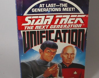 Vintage Star Trek Book, Unification 1991 Paperback, Paramount