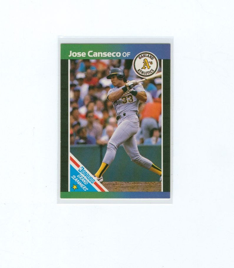 Vintage Baseball Card 1988 Jose Canseco 1 Oakland Athletics Outfield Grand Slammers Card Topps Mlb Baseball Sports Card