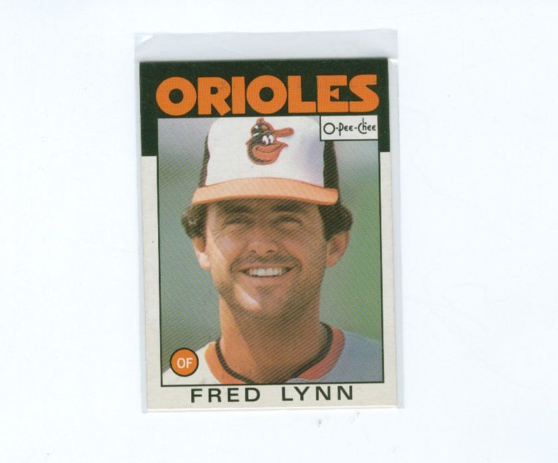 Vintage Baseball Card 1986 Fred Lynn 55 Baltimore Orioles Outfield O Pee Chee Mlb Baseball Sports Card Collectors Card Vintage Cards