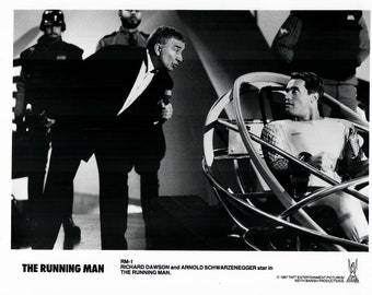 Vintage Photograph Arnold Schwarzenegger, Richard Dawson, The Running Man, 1987, 8x10 Black & White Promotional Photo