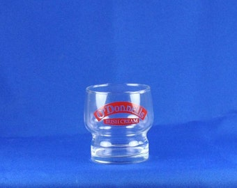 Vintage O'Donnels Original Irish Cream Glass, Red Logo, Ireland, Barware, Cocktail Glass, Irish Cream, O'Donells Glass, O'Donells Original
