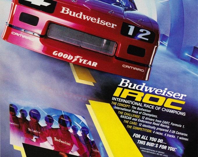 Vintage Original Magazine Print Art, Print Advertisement, Wall Art, Wall Decor, Man Room, Budweiser, 1985, Beer, Alcohol, Racing, NASCAR