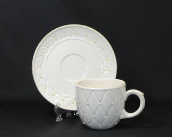 Vintage Ivory Tea Cup and Saucer, Quilted Pattern with Pearl Detailing & Light Gold Trim
