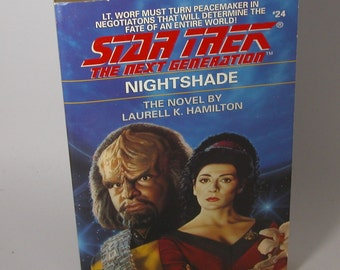 Vintage Star Trek Book, The Next Generation Nightshade No 24, 1992, Paperback, Star Trek, TNG, Vintage Trek, USS Enterprise, Captain Picard