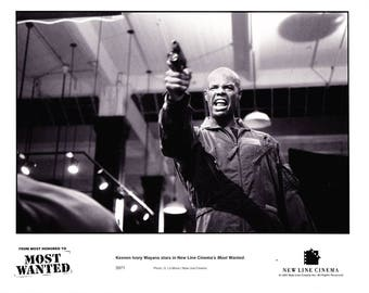 Vintage Photograph, Keenen Ivory Wayans, Gunny Sgt James Dunn, In Most Wanted 1997, Black and White, Hollywood Décor, Movie Advertisement