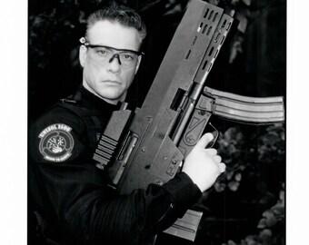 Vintage Photograph Jean Claude Van Damme, Universal Soldier II, 1998, 8x10 Black & White Promotional Photo