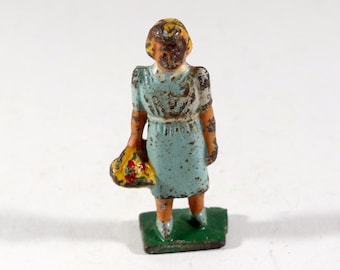 Vintage Barclay Manoil Lead Figure, Little Girl Carrying Flowers, 1950s
