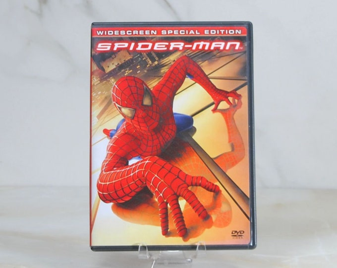 Spider-Man, DVD, 2002 action/adventure movie starring Tobey Maguire, Willem Dafoe, Kirsten Dunst, James Franco, Cliff Robertson